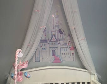 Crib Canopy Princess Bed Crown Nursery BaBy Light Pink Petite Bows FrEe WHITE sheer curtain INCLUDED Custom designed So Zoey Boutique SALE
