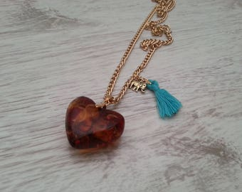 Gold Plated Necklace.Long Amber Heart Necklace.Romantic Necklace.Elephant Charm.Turquoise Tassel.Romantic Jewelry.Gift for Her.Girls Gift.