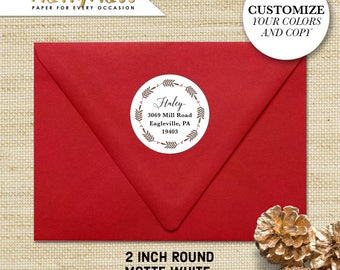 Return Address Stickers, Personalized Return Address Labels with Wreath, Custom Address Labels, Christmas Return Address, 20 Round Labels