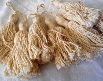 Set of 7 VINTAGE Ecru Cotton Tassels