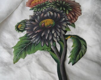 VINTAGE Painted Metal Purple Mum Flower Picture Wall Hanging
