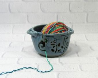 Yarn Bowl - Blue Knitting Bowl - Pottery Yarn Bowl for Knitter - Ceramic Yarn Bowl - Yarn Holder - Bowl for Holding Yarn - Bowl for Knitters
