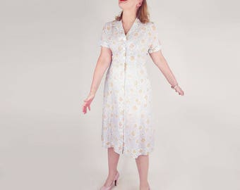 50s White, Pink and Green Print Summer Dress XL plus size