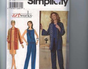 1990s Vintage Misses Sewing Pattern Simplicity 8661 Artworks Top Jacket Pants Skirt Size 6 8 10 UNCUT