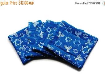 July Sale Handmade Quilted  Coasters set of 4 Hanukkah Blue Menorah Star of David Chanukah