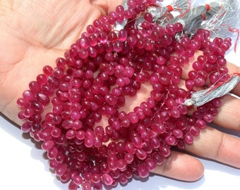 "Full 7.7"" 4x3-8x5mm Finest Quality Natural Ruby Smooth Teardrop Briolettes / Ruby Beads / Precious Gemstone Beads / GBE07"