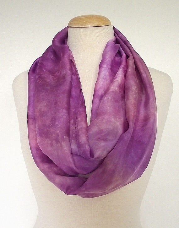 "Hand Dyed Silk Infinity Scarf - 11 x 76"", Purple, Heather, Rose, Long Infinity Loop"
