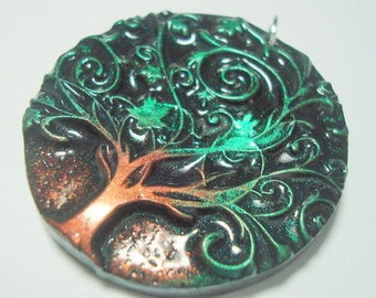 Twirly Green Tree of Life Handmade Polymer Clay Pendant