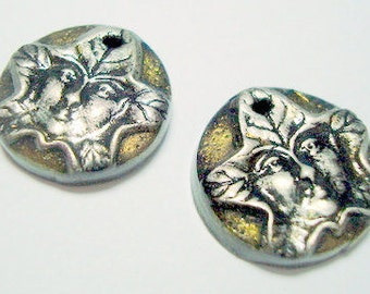Green Man Black, Gold, and Silver Polymer Clay Focal Beads