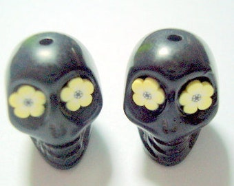 Yellow Flower Eyes in Black Day of The Dead Sugar Skull Beads