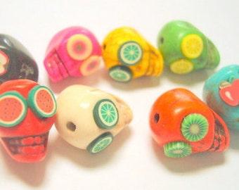 Sugar Skull Beads Rainbow Fruit Salad Variety of 13mm Howlite Day of the Dead Sugar Skull Beads