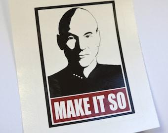 Picard Make It So Star Trek Next Generation Sticker