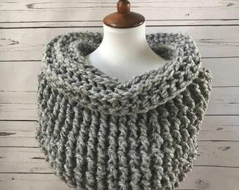 Wool Cowl Scarf : chunky knit | shrug | infinity scarf | handmade | style #1034 | Gray Marble