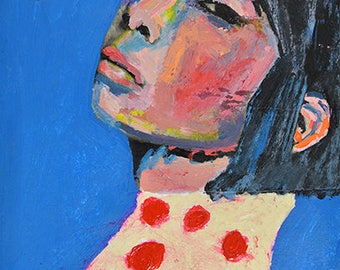 Original Acrylic Mixed Media Asian Woman Portrait Painting. Small Apartment Art. Laid Back
