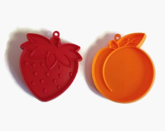 Set of Two Vintage Hallmark Cookie Cutters, Strawberry and Peach
