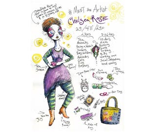 Meet The Artist pen and ink drawing and Watercolor painting