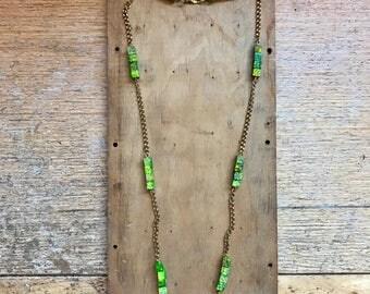 Green Jasper Necklace // Vintage Gold Chain // Geometric // Boho Jewelry // Bohemian Chic // Minimalist // Gypsy Soul // Handmade Gift Idea