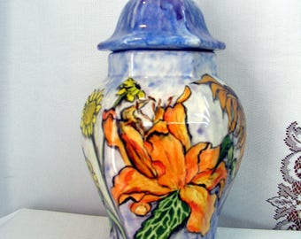 Ginger Jar/Canister/Urn Flower Garden Orange Lily White Daisy Hand Painted Food Safe and Functional Ceramic Two Pieces on Etsy