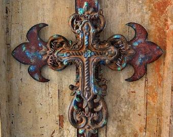 Fleur de lis Cross, Wall Crosses, Fleur de lis Wall Decor, Cross Decor, Rustic Cross, Rusty Cross, Iron Cross, Metal Cross, Industrial Cross