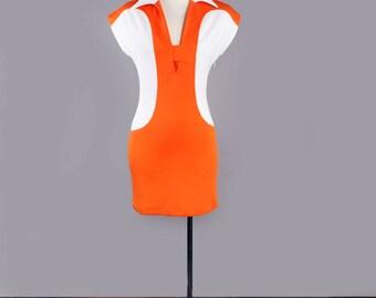 1990's Designer Henri Bendel Vintage Dress - Orange & White Jetsons Style Shift dress, MEDIUM - Size 2/3