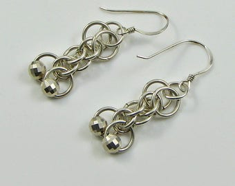 Handmade Chainmaille Earrings;  Argentium and mirror silver beads Earrings; Sparkling Earrings;  chose the length; Anniversary