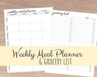Meal Planner & Grocery List Printable, Menu Planner Printable, Shopping List Printable, Meal Plan Printable, PDF Printable, INSTANT DOWNLOAD