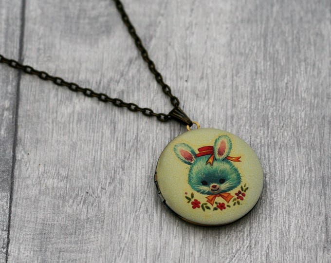 Bunny Locket Necklace, Rabbit Necklace, Woodland Jewelry
