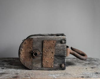Antique Weathered Wooden Pulley, Rustic Home Decor