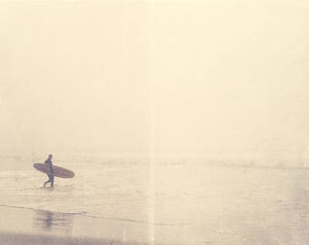 California photography, surfer photograph, Venice Beach art, ocean foggy winter morning silver pale grey water seaside for him dudes fathers