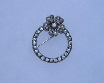 Pretty Art Deco Sterling Silver Paste Flower Circle Pin