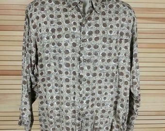 Vintage 80s rayon shirt long sleeves polka dots brown Hong Kong size L large chest 50