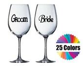 Wine Glass Wedding Decal Bride Groom Decals Wedding Decal  DIY Gift Wedding Gift Tumbler Acrylic Cup 25 Colors