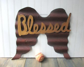 Large Rusty galvanized angel wings corrugated tin reversible wings  removable Blessed magnet wall hanging Farmhouse sign 10th anniversary