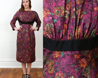 SALE Purple Floral 60s Dress
