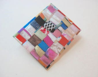 Mosaic Quilted Rectangle Pin in bright colors