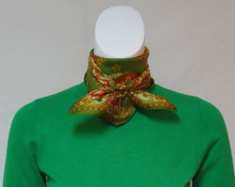 Vintage Twill Scarf, Gold Green Red Classical Print Scarf, Damask Print Scarf, Small Square Scarf,