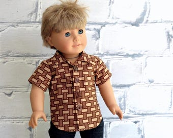 18 inch Boy Doll Clothes Back to School Button Up Shirt