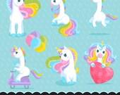 Unicorn Clipart. Valentine's day unicorn graphics, valentine backgrounds, word art, cute animals, rainbow, sticker art, glitter, birthday