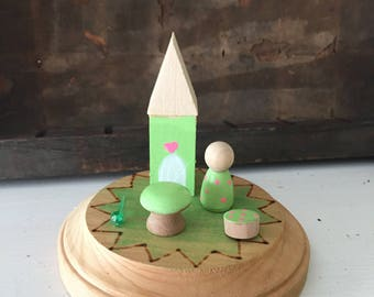 Wooden peg doll playset miniature fairy princess waldorf play set
