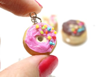 Donut Necklace Miniature Food Jewelry, Polymer Clay Food Jewelry