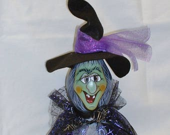 Halloween Witch Gourd - Hand Painted Gourds
