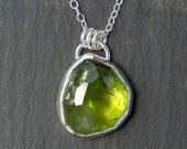 Tourmaline necklace / rose cut tourmaline / peridot green / green tourmaline / tourmaline crystal / tourmaline jewelry / gift for her