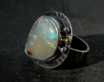 Australian boulder opal ring / opal ring / October birthstone ring / boulder opal jewelry / rainbow opal ring / natural opal / ready to ship