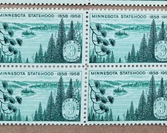Vintage unused postage stamps - 100th anniversary Minnesota statehood, a lot of twelve (12) 3 cent stamps