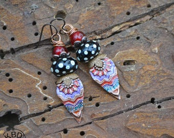 Painted Copper Tribal Drops with Ice Resin and Lampwork Earrings