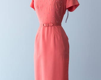 Vintage 1950s Dress - Warm Coral Fine Cotton 50s Leslie Fay Cocktail Dress w/ Matching Belt and White Polka Dot Beading // Waist 29