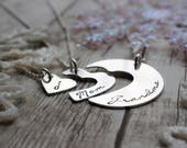 Mother's Jewelry - Personalized Three Generation Necklace Set in Sterling Silver by EWD - Grandmother, Daughter, Granddaughter