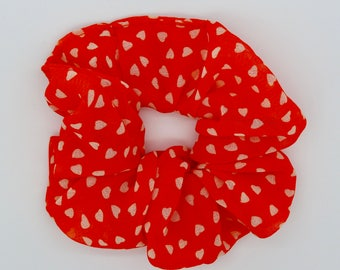 Hair Scrunchie. Orange heart print chiffon hair scrunchie.