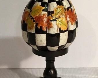 Painted pumpkin // whimsical painted pumpkin // checkered pumpkin // pumpkin ornament decoration