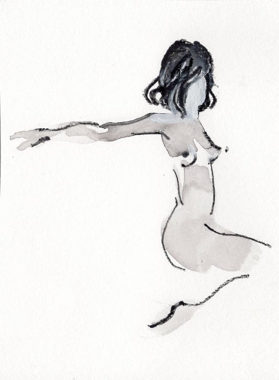Mini Nude #36 -original watercolor painting by Gretchen Kelly